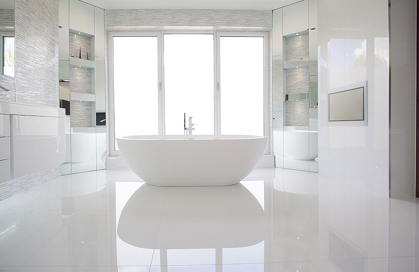 Hadley Wood - Master en-suite bathroom & cloakroom bathrooms | Tiles ...
