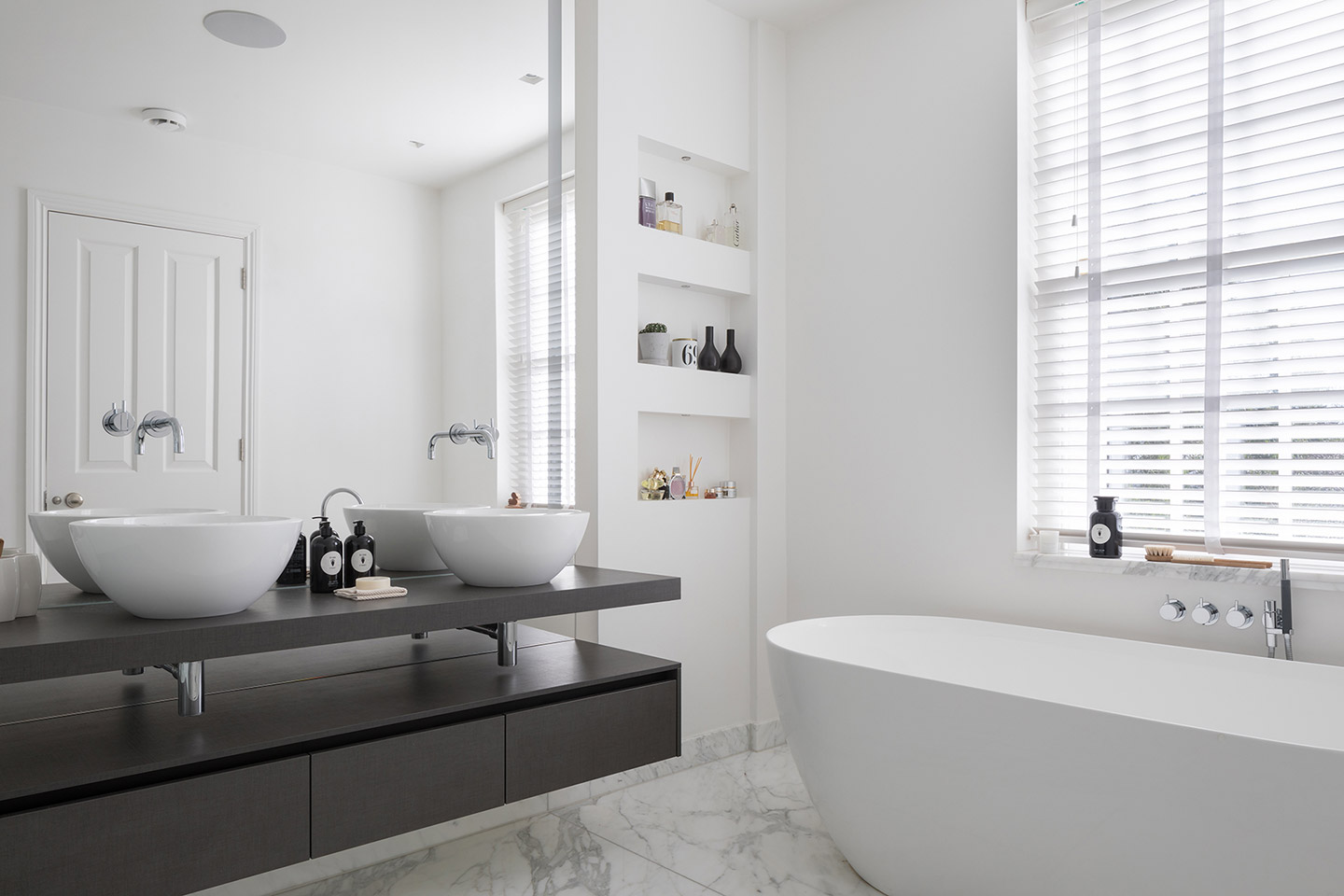 White Marble Carrara Bathroom | Tiles & Baths Direct