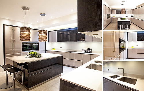 Terra Oak Kitchen - Cashmere glossy lacquer door with beautiful terra oak glossy veneer highlights and Ceaserstone frosty carrina quartz tops