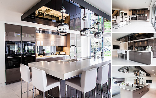 Basalt Grey Kitchen - Stunning basalt grey glossy lacquer doors and corain worktop
