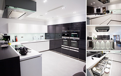 White Glossy Kitchen - Bespoke kitchen with white glossy acrylic door with terra oak units