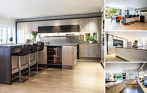 Cashmere Glossy Kitchen - Stunning new island design with dropped wooden table and raised timber bar & stools