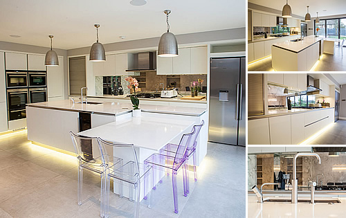 White Satin Kitchen - Stunning kitchen with open plan layout