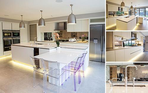 White Satin Kitchen - Stunning kitchen with open plan layout