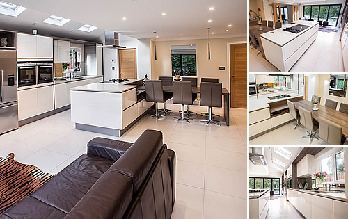 Magnolia Glossy Kitchen - Open plan kitchen with Grey Acacia Timber highlights