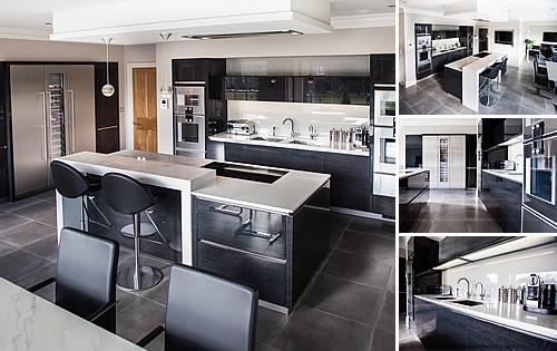 Terra Oak Glossy Kitchen - Stunning glossy veneer and island with white quartz