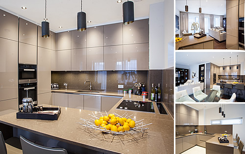 9 Town Houses - Development contract for basalt grey glossy kitchen with wild rice worktops and cladding