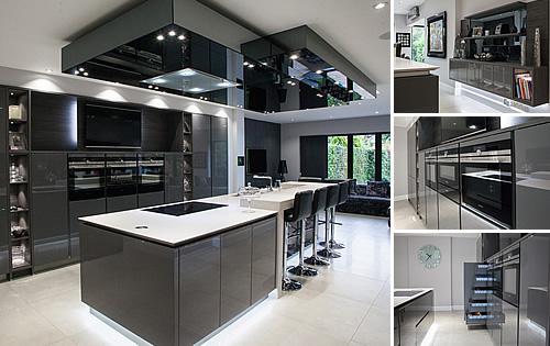 Glossy Kitchen - Lava Grey & Dark Pine