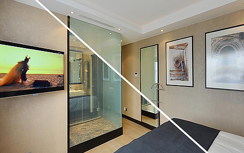 Intelligent Glass - How do you get a ensuite shower room in a compact space in a Central London landmark apartment block? Tiles & Baths provide the solution!