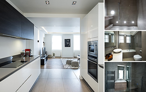 Apartments in Central London - Developers designs bathrooms & kitchen with a high impact look from concept to design and on to completion