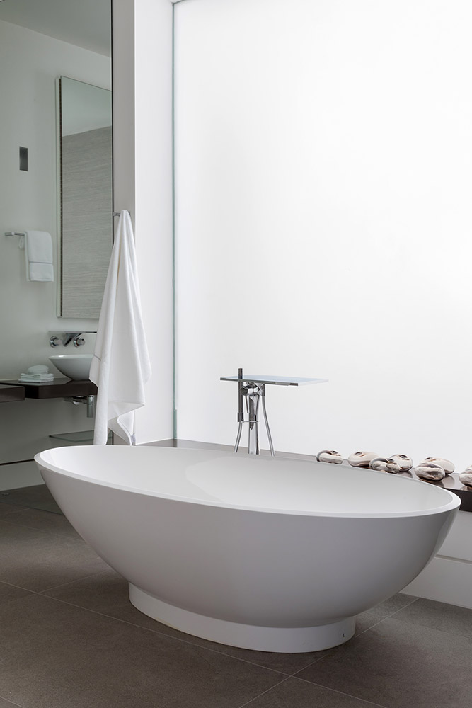 TBK Designed White & Grey Bathroom - White Freestanding Bath