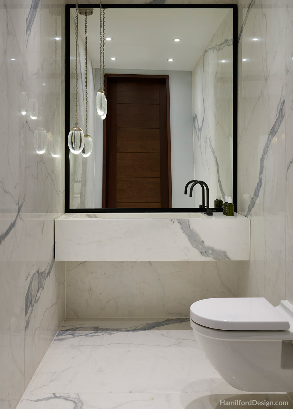 Bathroom - Cloakroom with White Marble