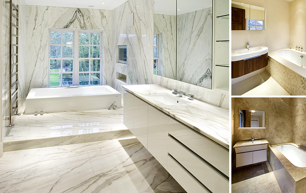 Luxury Residence Bathrooms - Designed and supplied by TBK LTD incl marble natural stone from our stock