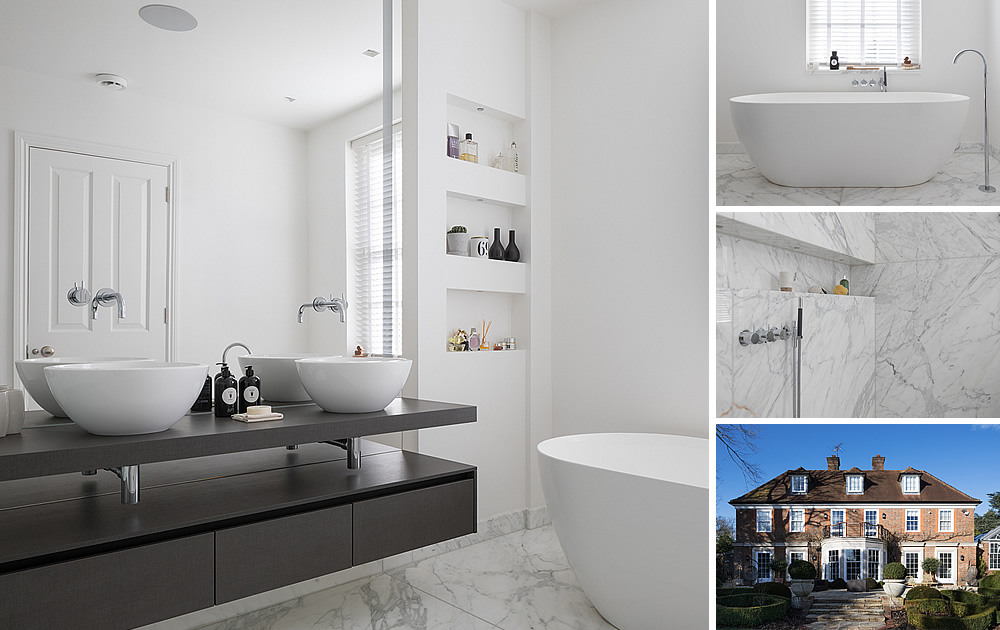 White/Marble Carrara Bathroom - Beautiful white bathroom with white marble carrara tiles, walk-in shower, waterfall head, freestanding bath,  Italian vanity unit and modern led lights